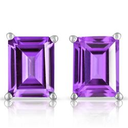 Amethyst Emerald Cut Stud Earrings 5x7MM in Sterling Silver