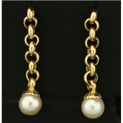 Cable Link Dangle Pearl Earrings in 14k Gold