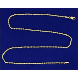 16 Inch Rope Style Neck Chain in 14k Gold