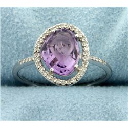 Diamond and Amethyst Halo Style Ring in 14k White Gold