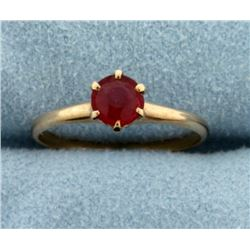 Natural Ruby Solitaire Ring in 14k Rose Gold