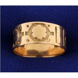 Vintage 14k Rose Gold Band Ring with Unique Design