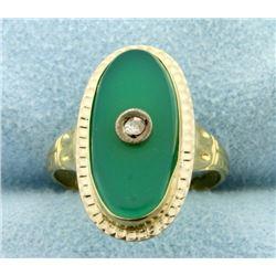 Vintage Mine Cut Diamond and Green Crystal Ring