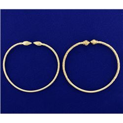Two Heavy Weight Custom Made Hand Etched Bangle Cuff Bracelets in 14k Gold