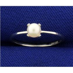 Akoya Pearl Solitaire Ring in 14k White Gold