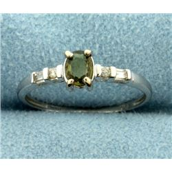 Color Changing Alexandrite and Diamond Ring in White Gold