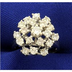1 1/2ct TW Cluster Diamond Cocktail Ring in 14k White Gold