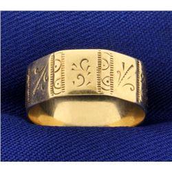 Vintage Hand Etched Unique Band Ring in 14k Rose Gold