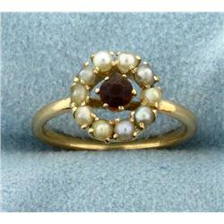 Vintage Garnet and Seed Pearl Ring