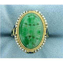 Vintage Jade, Seed Pearl, and Enamel Asian Ring in 14k Gold