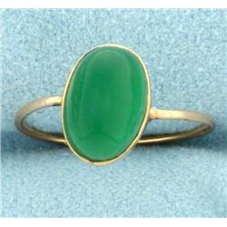 Vintage Green Crystal Ring in 14k Gold