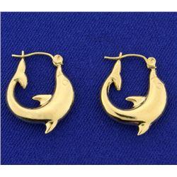 Yellow Gold Dolphin Hoop Earrings