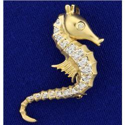 Diamond Sea Horse Pendant or Pin in 14k Gold
