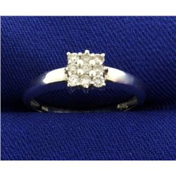 Nine Diamond Ring in 14k White Gold