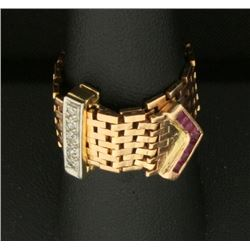 Diamond and Ruby Victorian Buckle Ring in 14k Rose Gold
