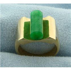 Unique Natural Jade Ring in 14k Gold