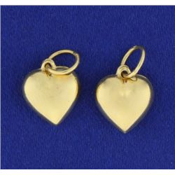 Pair of Puffy Heart Charms in 14k Gold