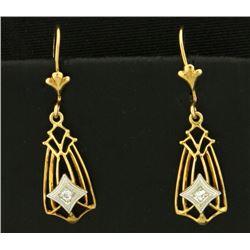 Diamond Dangle Drop Earrings in 14k Gold