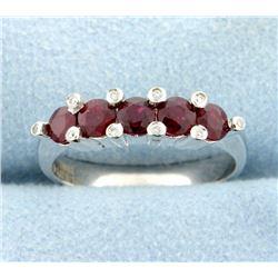 Natural Ruby and Diamond Band Ring