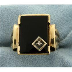 Men's Onyx and Diamond Ring