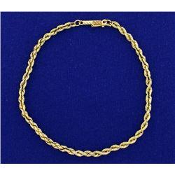 8 Inch Rope Link Bracelet in 14k Gold