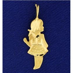 Diamond Cut Young Girl or Daughter Pendant or Charm