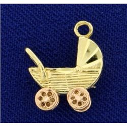 Baby Carriage or Stroller Charm in 14k Yellow and Rose Gold