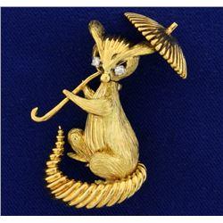 Cat or Lemur Monkey Holding a Parasol Umbrella Diamond Pin or Brooch