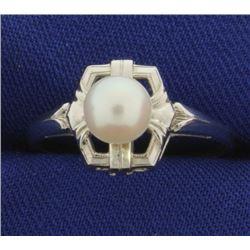 14k White Gold Pearl Ring