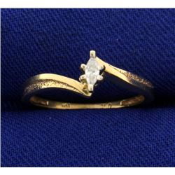 Marquise Diamond Solitaire Bypass Ring