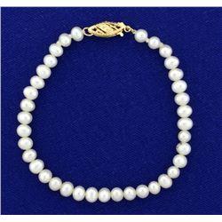 Vintage Akoya Pearl Bracelet with 14k Gold Clasp
