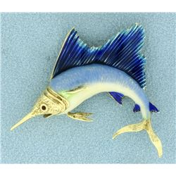 14k Gold Enameled Sailfish Pin