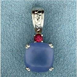 Tanzanite, Pink Topaz, and Diamond Pendant