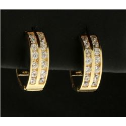 10k Yellow Gold Hoop Earrings with CZ Gemstones