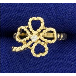 Diamond Four Leaf Clover Ring