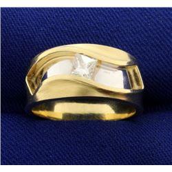 Unique Designer 1/3ct Princess Cut Solitaire Diamond Ring in 14k Gold