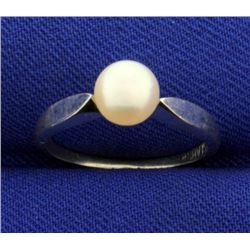 6mm Pearl Ring in White Gold
