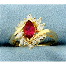 Natural Rubellite Garnet and Diamond Ring