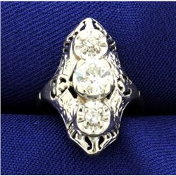 Vintage Over .8 ct TW Old European Diamond Filigree Ring