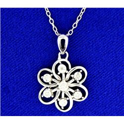 Diamond and Sterling Silver Flower Pendant