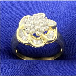 Over 2cts TW Diamond Flower Ring