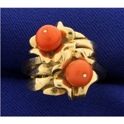 Pink Coral and Gold Ring