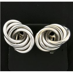 4 Ring Modern Style Earrings in 14k White Gold
