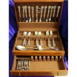 Reed and Barton Rose Cascade 59 piece Sterling Silver Flatware Set