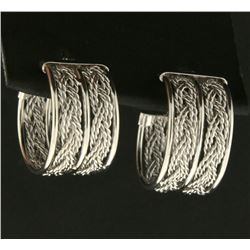 Wide Woven Hoop Earrings