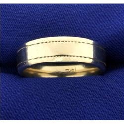 Men's 7mm Wide Wedding Band with Beaded Edge