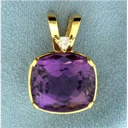 17ct Amethyst and Diamond Pendant