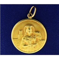Saint Barbara Pendant in 18k Gold