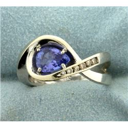 Diamond and Tanzanite Infinity Ring