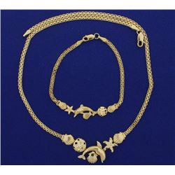 Nautical Sealife Bracelet and Necklace Set